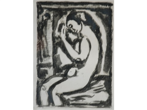 a seated naked female figures by georges rouault