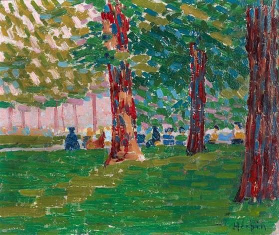sous les arbres, jardin du luxembourg by auguste herbin
