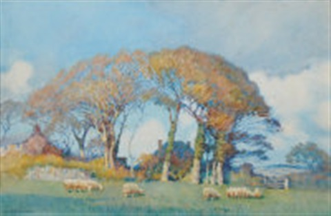 landscape with cottages and sheep by a moulton foweraker