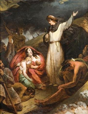 saint dominique sauvant des marchands naufragés dans le rhône by louis charles auguste couder