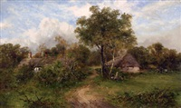 landscape with thatched cottages by carl brennir