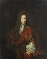 portrait of a gentleman, standing, three-quarter length before a parkland setting by constantyn netscher