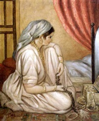 jeune femme au tesbih by salomon taib