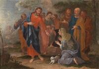 zwei szenen aus dem neuen testament, 1. christus und die samariterin am brunnen, 2. christus und die ehebrecherin (pair) by johann heiss