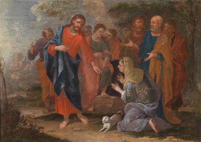 zwei szenen aus dem neuen testament 1 christus und die samariterin am brunnen 2 christus und die ehebrecherin pair by johann heiss
