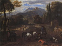 sportsmen resting in an open field in a mountainous wooded landscape by dirk maes