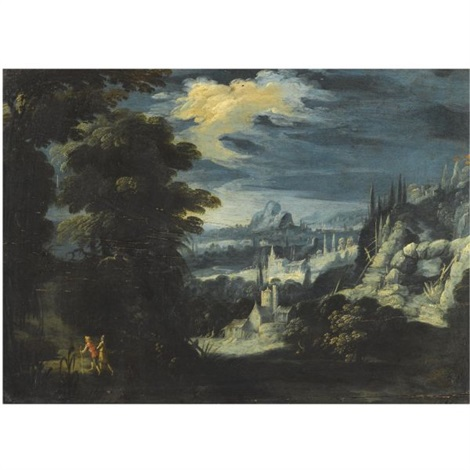 an extensive landscape with travellers in the foreground by lucas van valkenborch