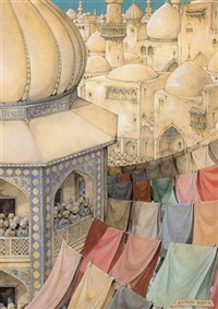 the 491st night, the story of abu kier and abu sier; the astonishment of the coloured dyeworks by anton pieck