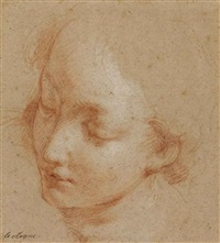 a female head turned towards the left by françois lemoyne