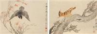 花鸟(双挖) 立轴 设色纸本 (2 works on 1 scroll) by jiang hanting