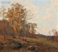 country stream in autumn by william merritt post