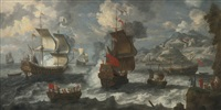 shipping off the coast near a mediterranean town by jan peeters the elder