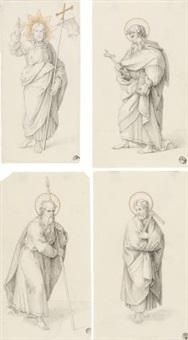 christus salvator mundi und die apostel thomas, matthias und philippus (4 works) by gustav heinrich naeke