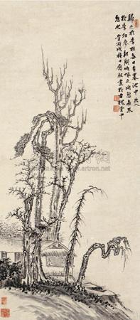 古槐幽居图 (landscape) by ba weizu