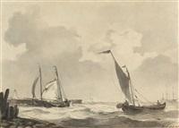 küstenlandschaft mit fischerbooten bei stürmischem wetter by johannes christiaan schotel