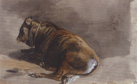 study of a bull and a dog by victor jean adam