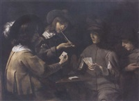 two men playing cards at a table before onlookers, one smoking a pipe by mathieu (le chevalier) le nain