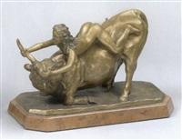 weiblicher akt mit stier by janos babusa