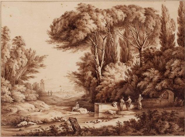 italienische landschaft mit frauen und brunnen by jean jacques de boissieu