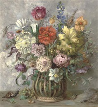 summer flowers in a vase, with insects to the side by herbert lehmann