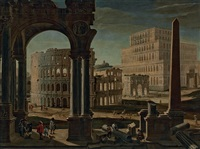 a capriccio with the colosseum, the arch of constantine, and the tower of maecenas, rome by filippo (il bizzarro) gagliardi