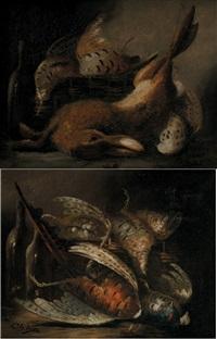 nature morte aux faisans (+ nature morte au lièvre et perdreaux; pair) by charles leroy