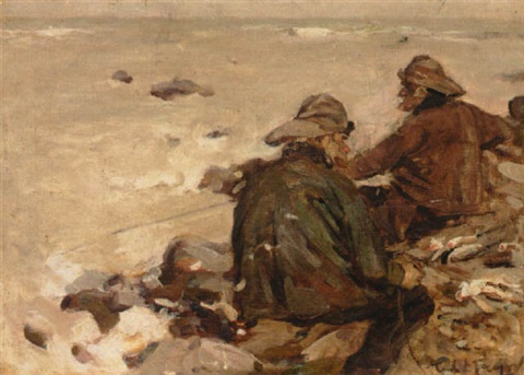 fishermen on the beach by fred mayor
