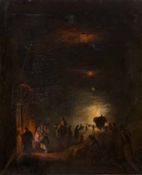 accoglienza di pellegrini presso la grotta di posillipo by vincenzo abbati