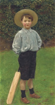 geoffrey, the artist's son, with a cricket bat by walter c. stritch hutton