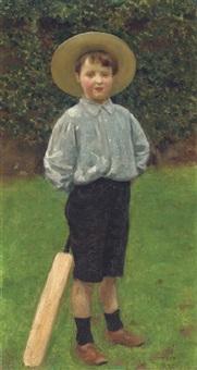 geoffrey, the artist's son, with a cricket bat by walter c. stritch hutton