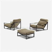 pair of lounge chairs, model b-1739 and ottoman by milo baughman