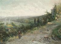 bergère et son troupeau sur les hauteurs de lyon by pierre (henri théodore) tetar van elven
