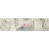 blossoming prunus, narcissus and rocks (+ 2 others; 3 works) by ji fen