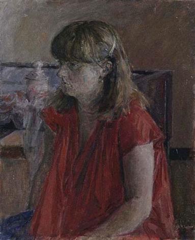mujer con blusa roja by gabino rey