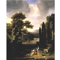 classical landscape with figures by jacob esselens