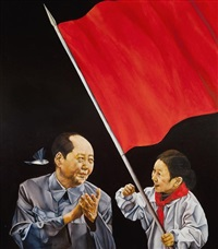 mao with young pioneer by xiao se