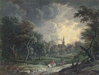 two riders weathering a storm, a church being struck by lightning beyond by louis nicolas van blarenberghe