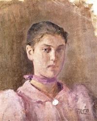 lila ruhás nő by istván réti