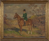 portrait of a gentleman mounted on a chestnut hunter in the countryside. by howard everett smith