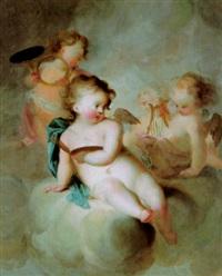 musizierende und malende putten in den wolken, allegorie der musik und malerei by johann heinrich keller