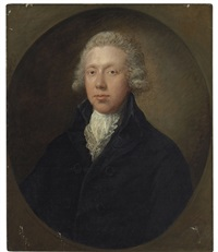 portrait of a gentleman, traditionally identified as samuel kilderbee, bust-length, in a black coat and white lace collar by gainsborough dupont