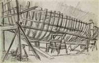 le chantier lacheray à honfleur et une étude (study) (2 works) by bernard raoul lachevre