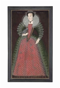 portrait of a lady, aged 15, traditionally identified as elizabeth paulet, full-length, in a red and green embroidered dress with lace trim by british school (16)