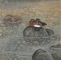 湖石鸳鸯图 by song hua