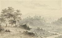 landschaft mit ruine auf einem hügel by cornelis lieste