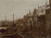 shipping on the thames, duke shaw wharf, limehouse by edwin wilkins field