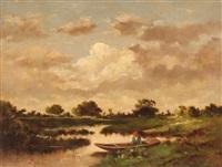 paesaggio con pescatore by jules dupré