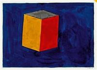 ohne titel (kubus auf blauem grund) by sol lewitt
