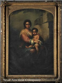 madonna and child (in the style of bartolemé murillo) by john rathbone