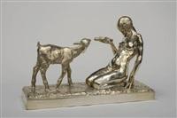 jeune fille nue agenouillée nourissant un agneau by marcel louis maurice courbier